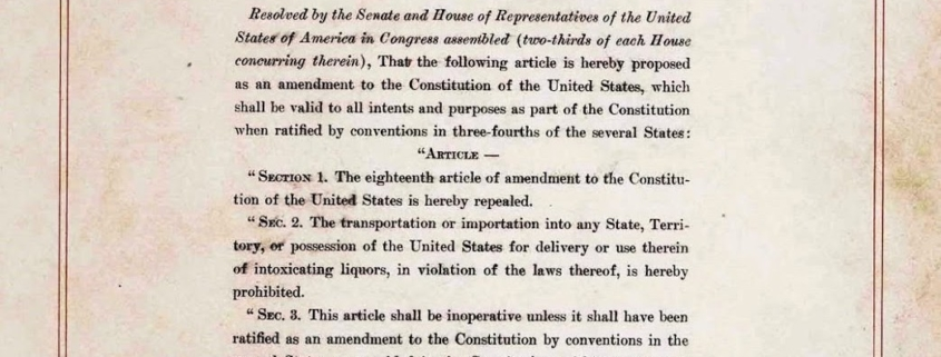 The 21st Amendment To The United States Cons Ution A Repeal Day Primer